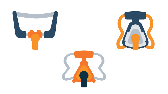 illustration of CPAP mask types