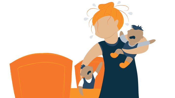 illustration of a flustered woman taking care of two kids