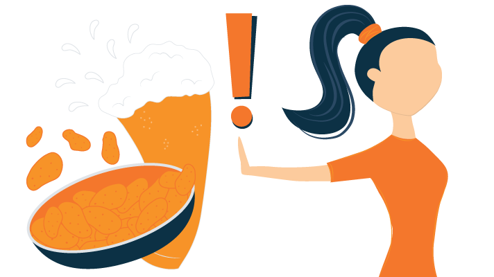 illustration of a woman refuses chips and alcohol