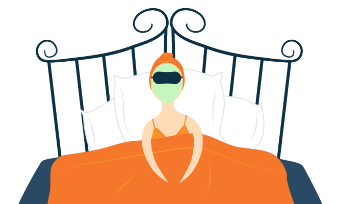 illustration of a woman sleeping with eyemask and facemask on