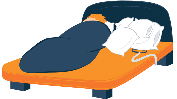 illustration of sleeper hiding CPAP mask under a pillow