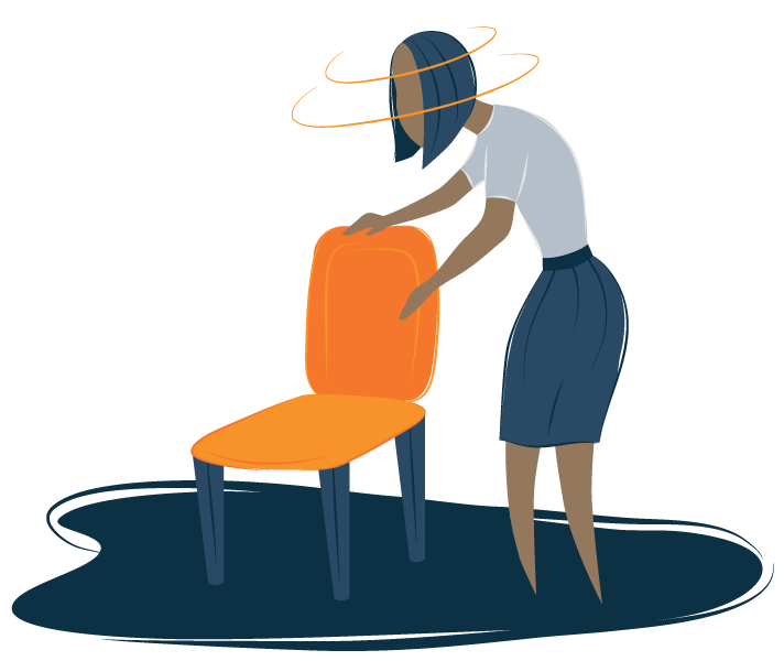 A woman leaning on a chair showing fatigue