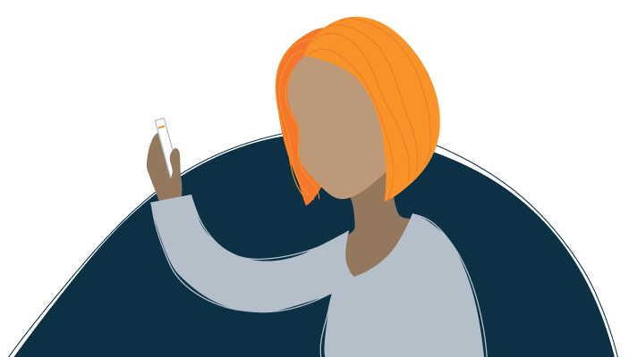 Illustration of Tired Woman Holding Negative Pregnancy Test