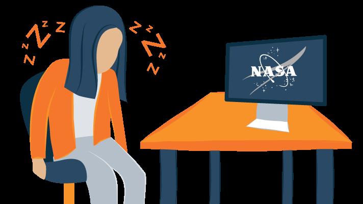 NASA scientist sleeping at work