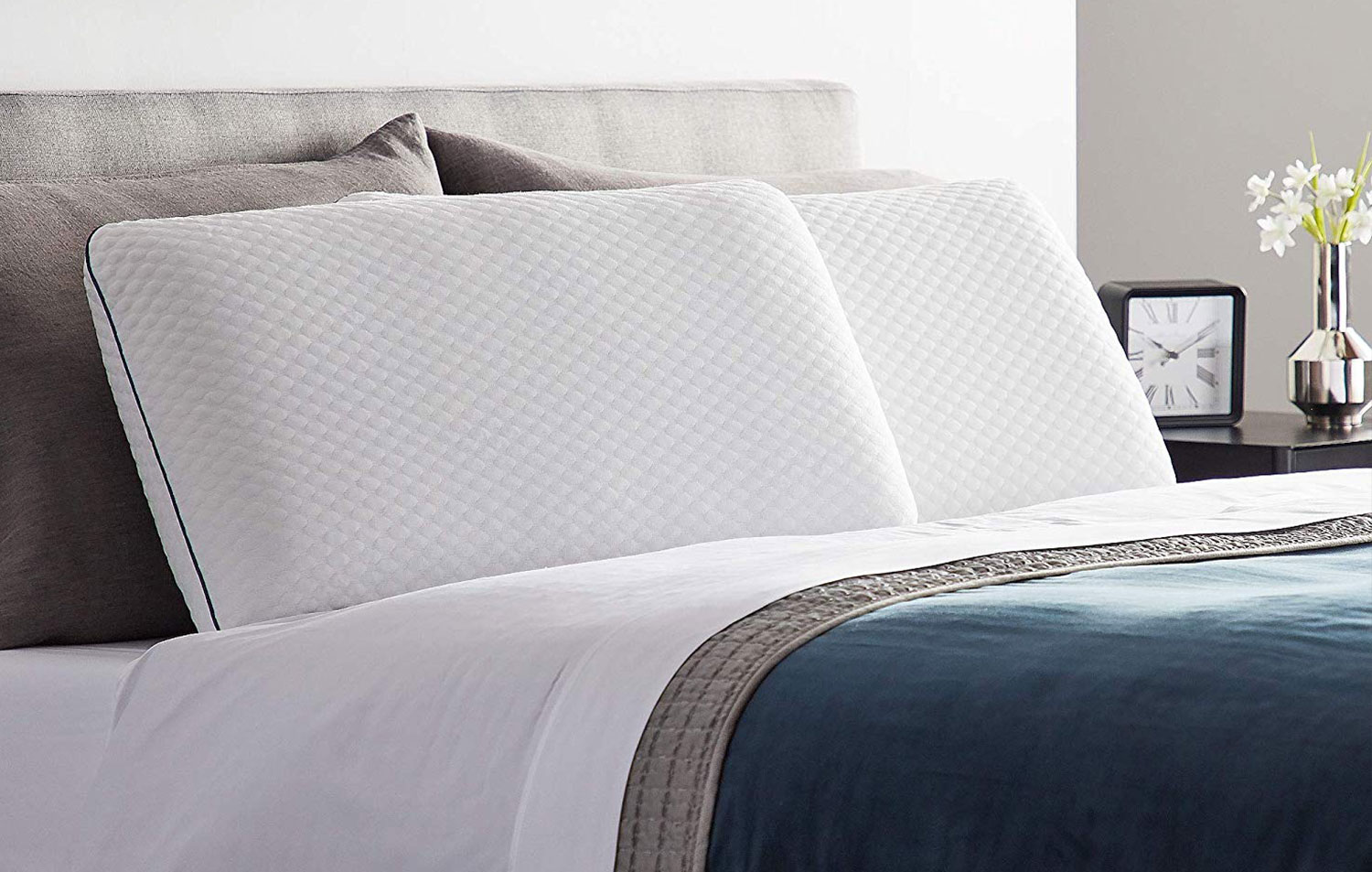 close-up image of two pillows on the bed