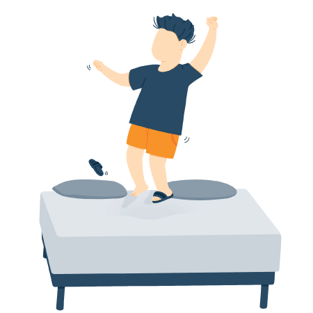 illustration of a child jumping on bed