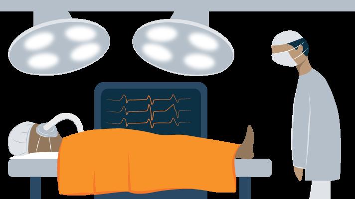 illustration of tired doctor preparing for operation
