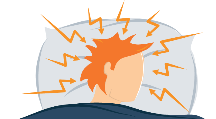 Illustration of a Man Who Suffers from Exploding Head Syndrome