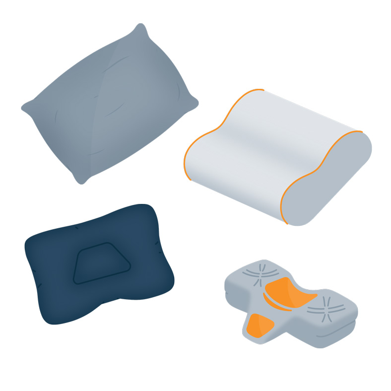 Different shapes and models of pillows that ease neck pain