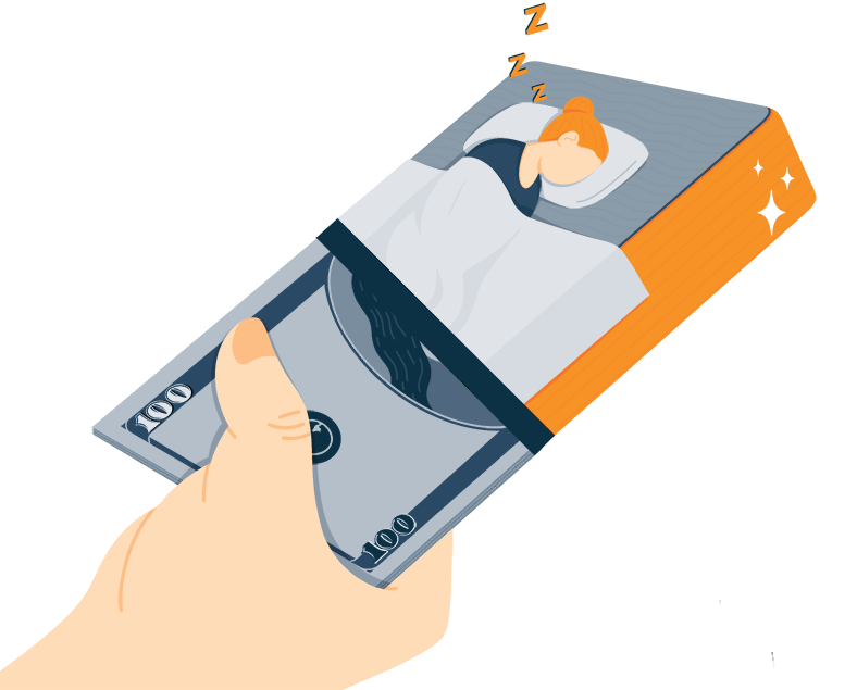 Illustration of Giving Money for Mattress