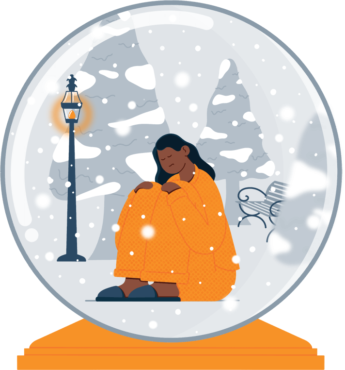 Sad Lady Suffering from SAD Sitting in a Snow Globe Illustration