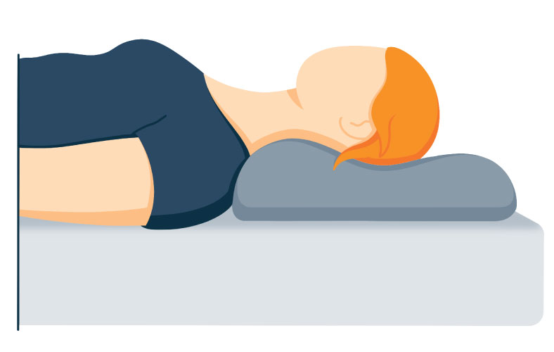 illustration of a lady sleeping with her neck properly supported