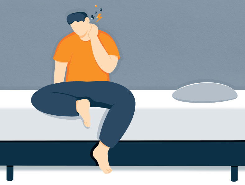 illustration of a person trying to ease neck pain