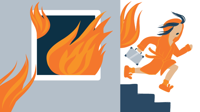 illustration of a woman running from a burning building