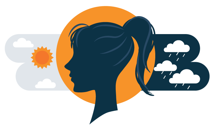 illustration of person having extreme changes in mood