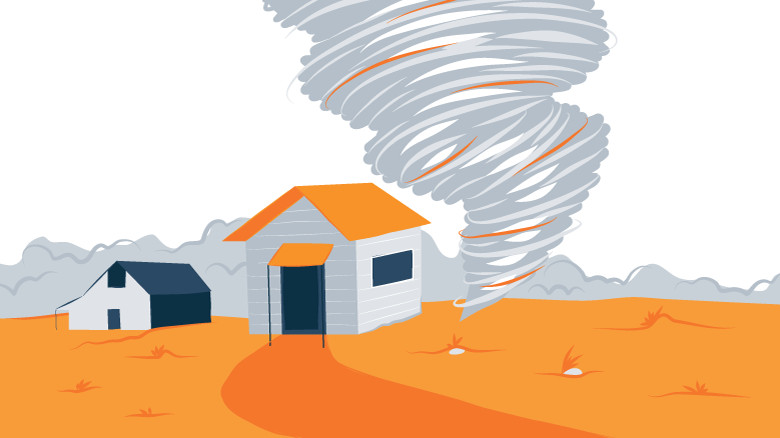 illustration of tornado heading towards the house