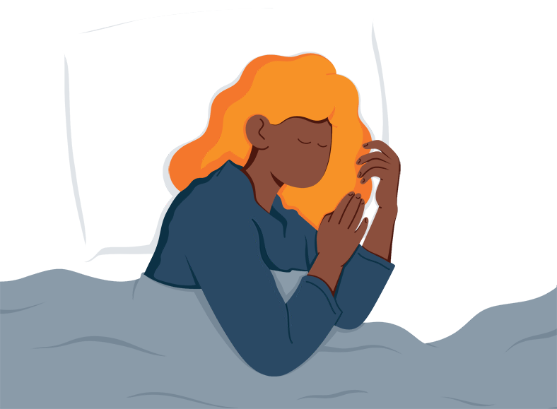 Illustration of a Lady Sleeping on Her Side
