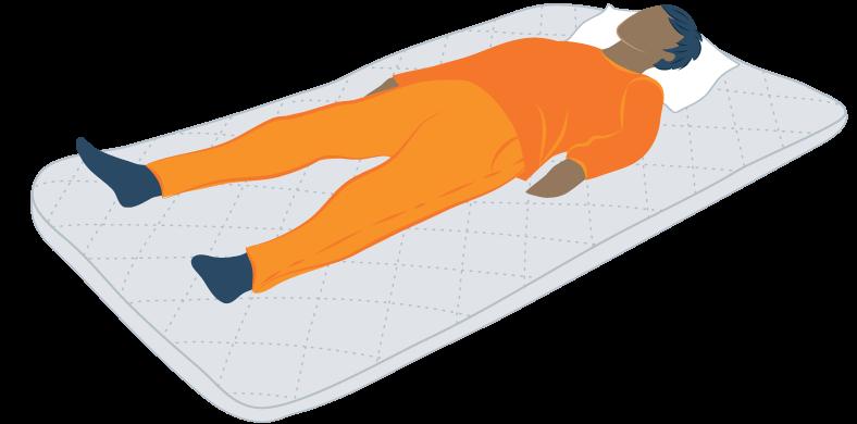 Illustration of a Man Sleeping on Japanese Futon