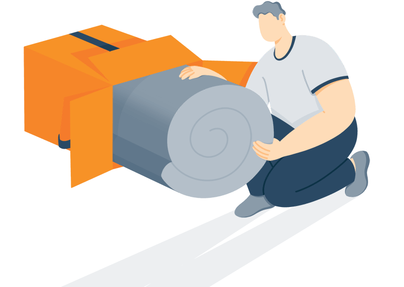 illustration of a man unboxing bed in a box