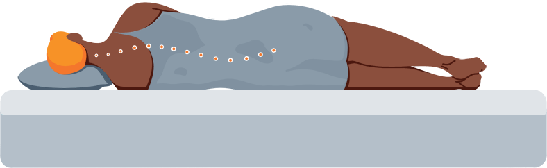 Illustration of a Person Sleeping on Their Side on a Firm Mattress