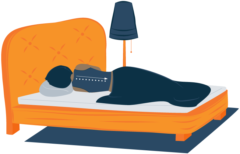 Illustration of a Woman Sleeping on a Mattress Topper That Supports Her Spine
