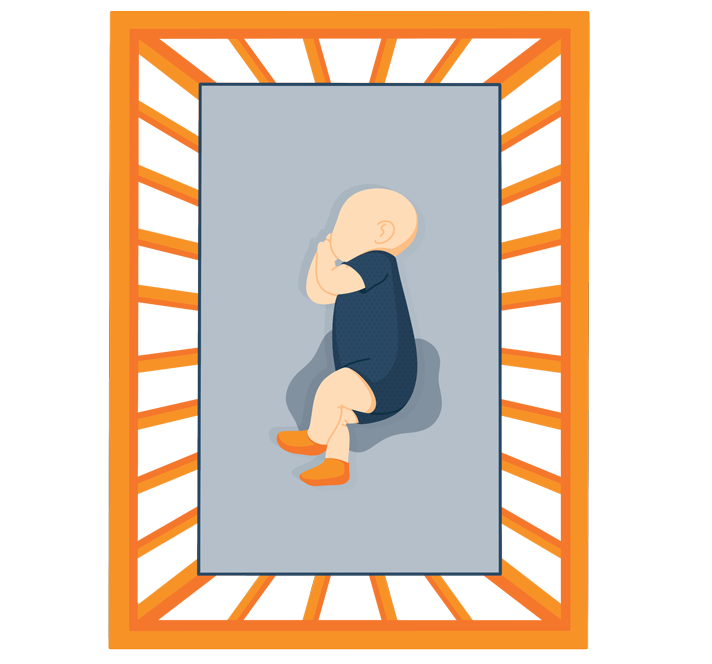 Illustration of a baby in-the crib with waterproof covering