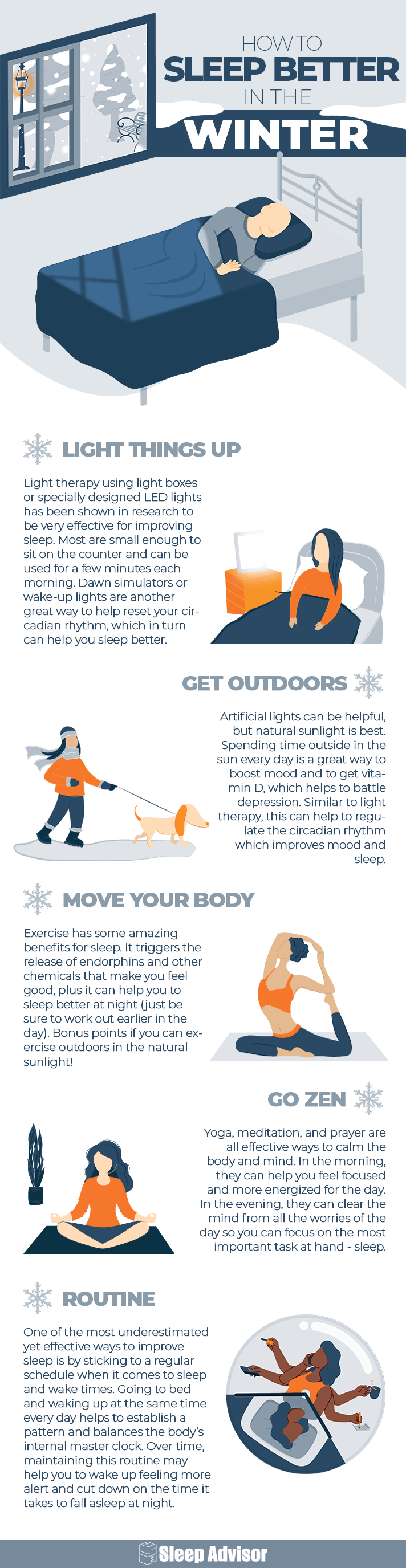 How to Sleep Better in the Winter Infographic