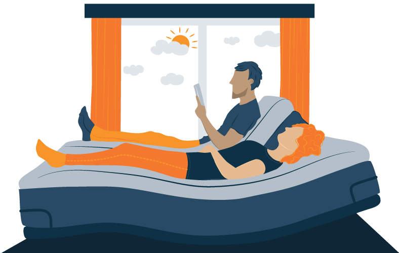 couple relaxing in adjustable bed with two sides