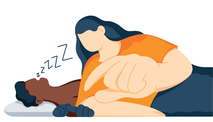 illustration of a woman using earplugs for blocking husbands snoring