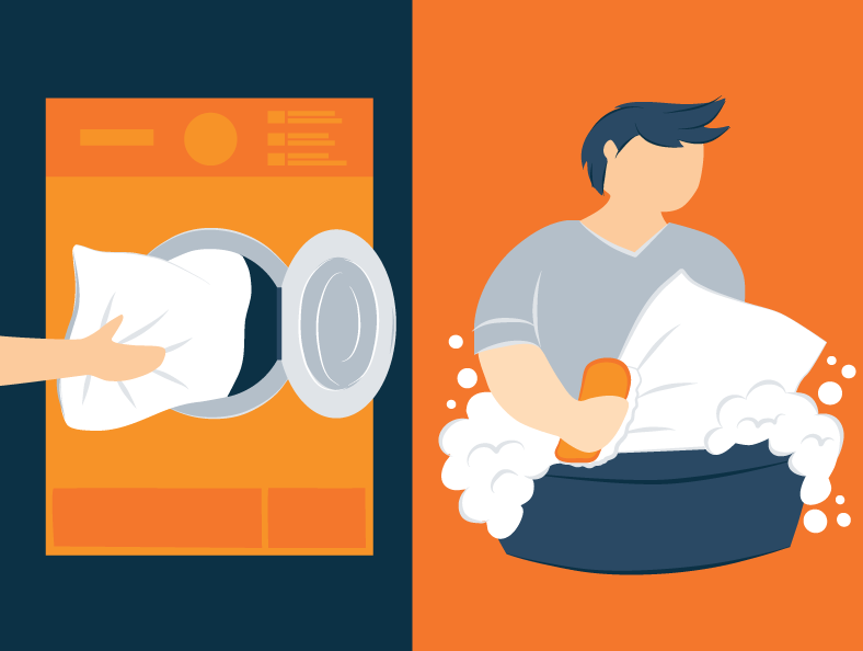 washing pillows by hand or by machine illustration