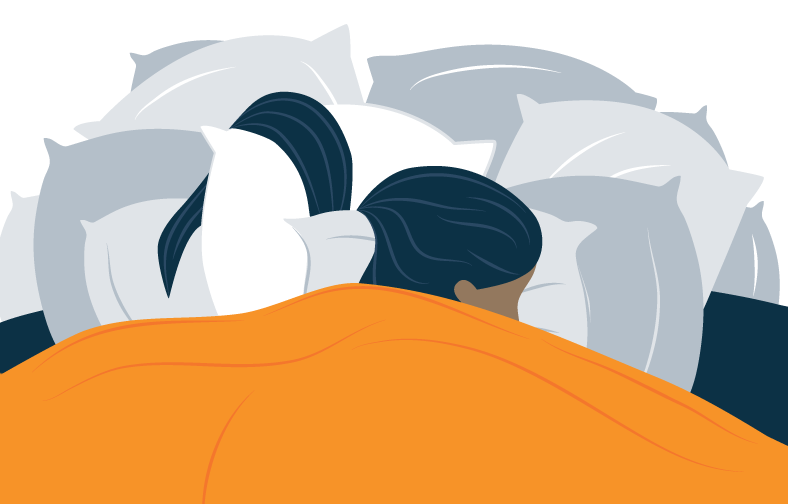 woman sleeping on a pile of pillows