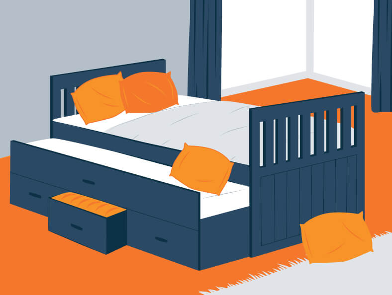 Illustration of a Twin Trundle Bed wih an Extra Storage