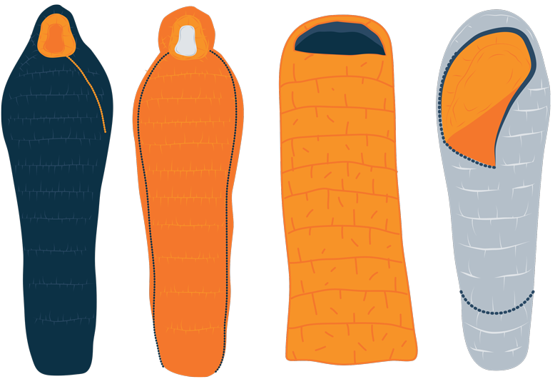 Illustration of the zip types for sleeping bags