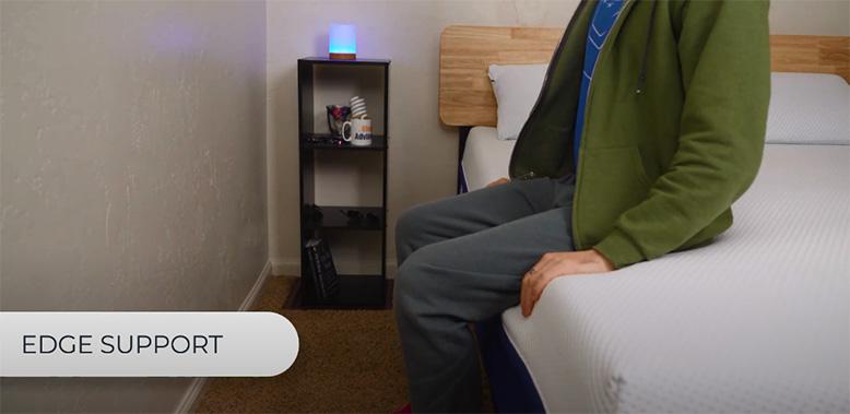 Testing edge support on AmeriSleep Hybrid AS3 bed