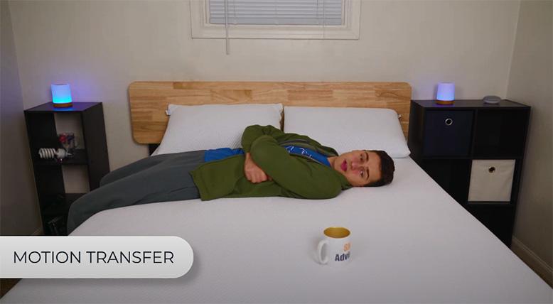 Testing motion transfer on Amerisleep Hybrid AS3 mattress