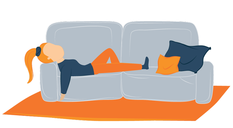 woman relaxing on convertible sofa bed