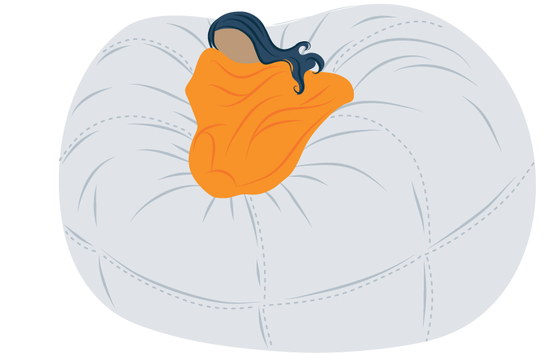 Illustration of a Girl Sleeing in a Bean Bag