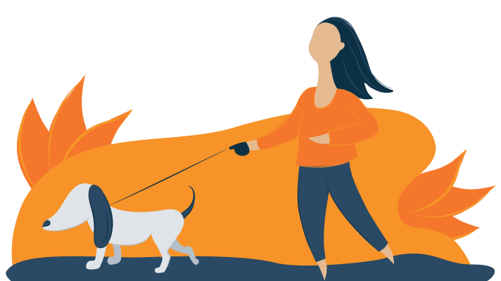 Illustration of a Girl Taking a Dog for a Walk