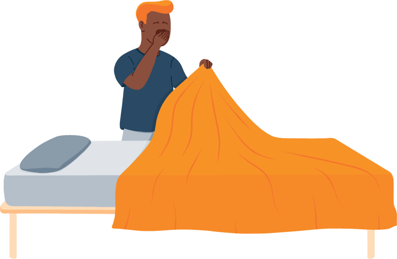 Illustration of a Man Yawning and Going to Sleep