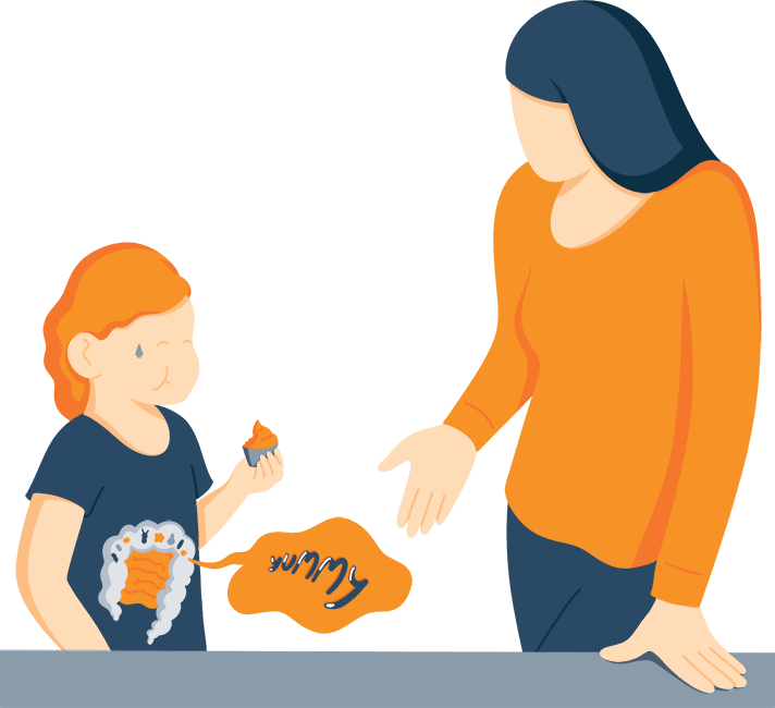 Illustration of a Mom Looking Unhappy at Her Daughter Who is Eating Cupcake
