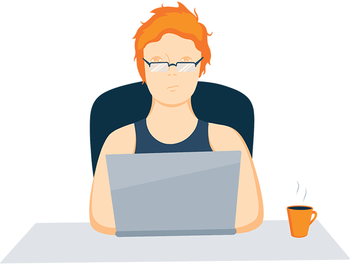 Lady Sitting in front of a Laptop