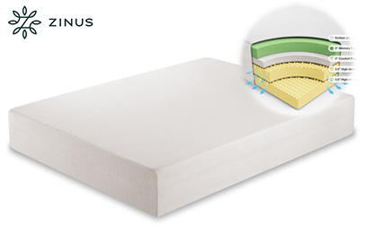 zinus memory foam 12 inch green tea