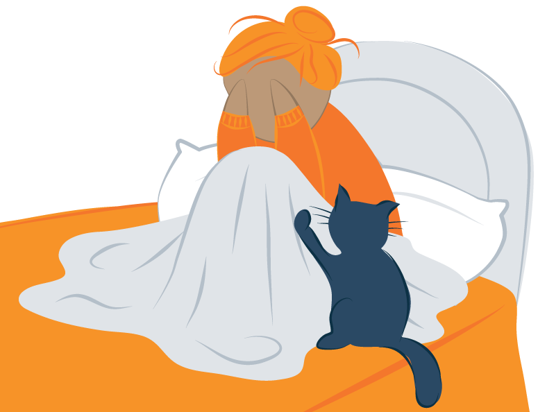 cat calming stressed woman illustration
