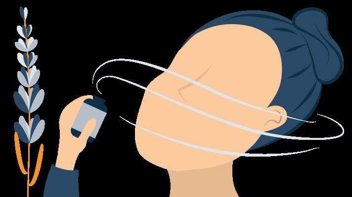 illustration of a person smelling lavender oil