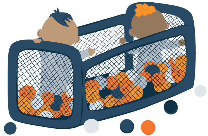 illustration of two infants playing