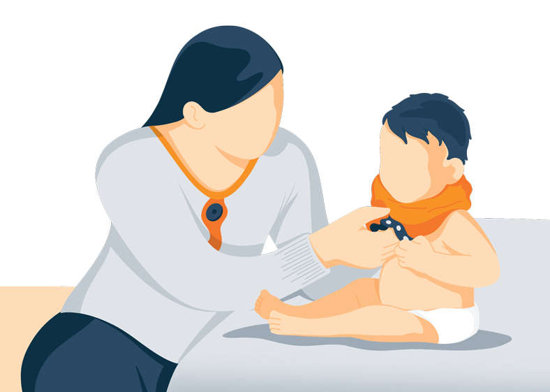 mum is dressing a baby for sleep illustration