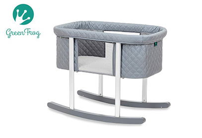 Gray bassinet green frog product image
