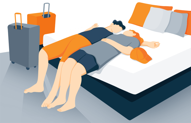 Illustration of a Guests Resting on a Bed