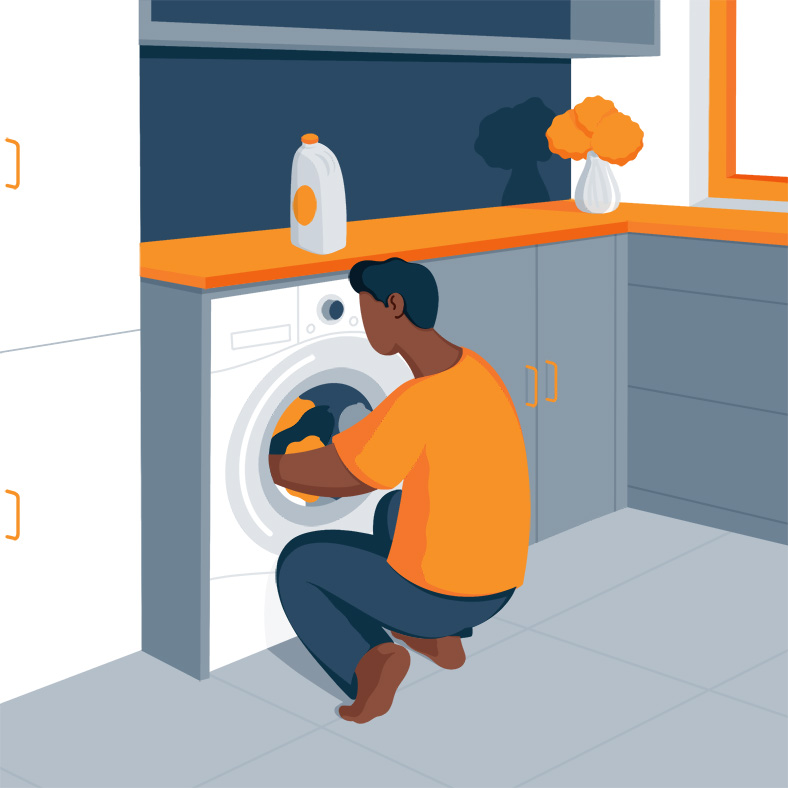 Illustration of a Man Putting Stuff in the Washing Machine