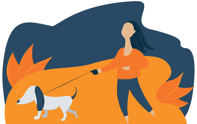 Illustration of a Woman Taking Her Dog for a Walk